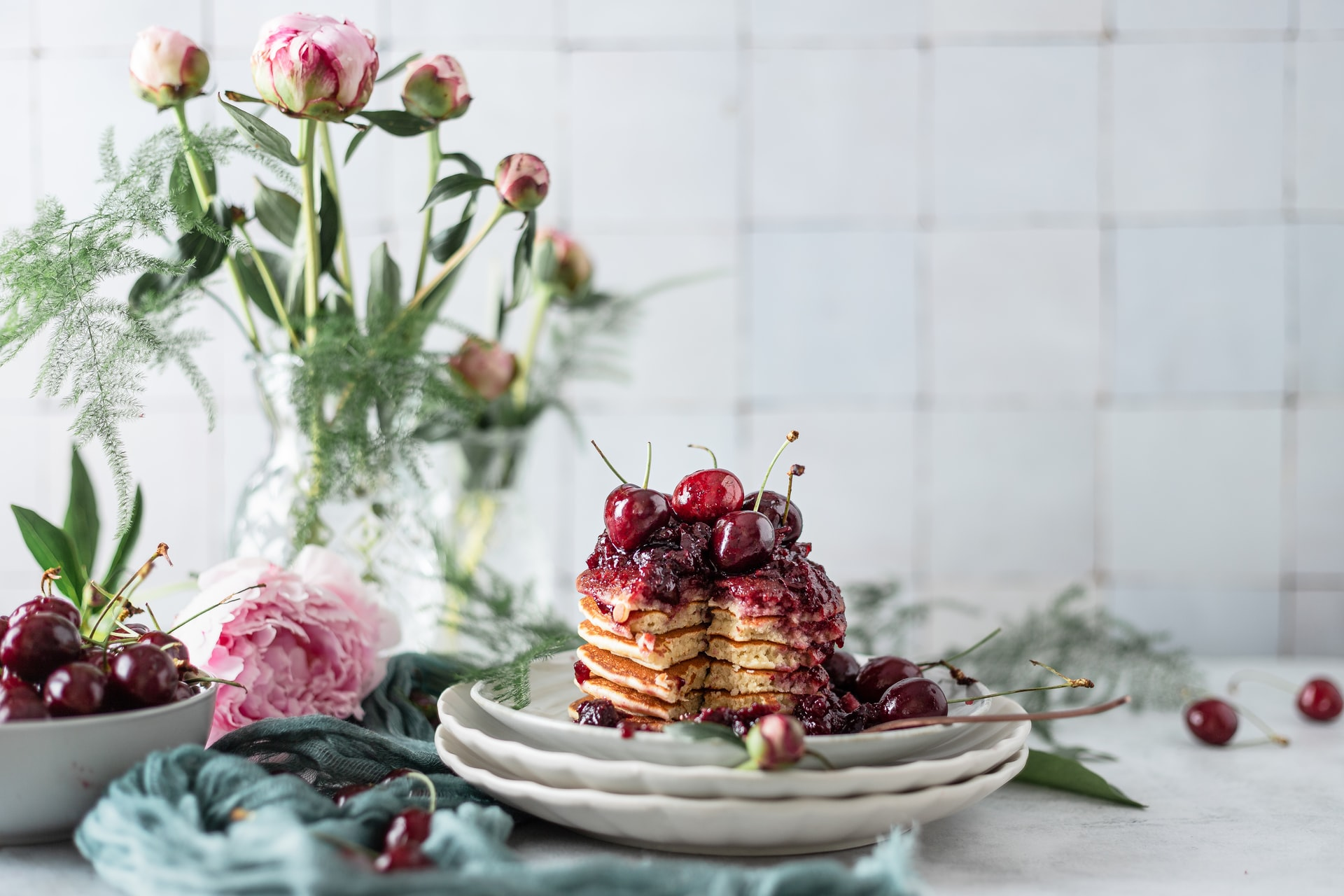 Cherry topped Pancakes Food Photography